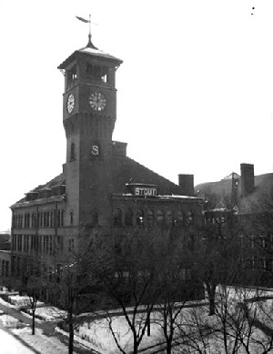 black and white photo of Stout clock tower.